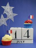 Kalendarz święto narodowe francji, xiv lipca, rocznica zdobycia bastylii 14 lipca — Zdjęcie stockowe