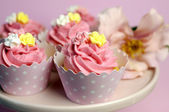 Beautiful pink decorated cupcakes on pink cake stand for birthday, wedding or female special event occasion. Close up with bokeh. — Stock Photo