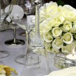 Close up of detail on wedding breakfast dining table setting with glass bell. — Stock Photo #27469789