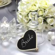White Satin Wedding Table Setting Detail with bride place setting — Stock Photo
