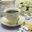 White Satin Wedding Table Setting Detail with coffee cup — Stock Photo