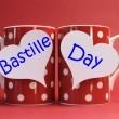 France National holiday calendar, 14 July, Fourteenth of July, Bastille Day Greeting on coffee mugs — Стоковая фотография
