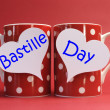 Stock Photo: France National holiday calendar, 14 July, Fourteenth of July, Bastille Day Greeting on coffee mugs