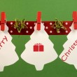 Christmas and seasonal holidsay with a bright and vivid pegs on a line  — Stock Photo