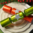 Green theme Christmas dining table setting — Stock Photo