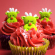 Christmas cupcakes with fun and quirky reindeer faces — Stock Photo #28086433