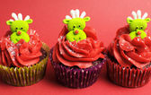 Christmas cupcakes with fun and quirky reindeer faces — Stock Photo
