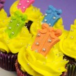 Bright festive cupcakes with gift decorations for Christmas, Easter, birthday or Children's party — 图库照片