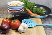 Vegetarian cooking and food preparation for healthy diet concept — Stock Photo