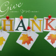 Give Thanks message across pegs on line for Happy Thanksgiving greeting with hanging leaves — Stock Photo #29144547