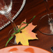 Beautiful Fall Theme Thanksgiving dinner table setting — Stockfoto