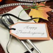 Beautiful Fall Theme Thanksgiving dinner table setting — Foto de Stock