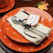 Beautiful Fall Theme Thanksgiving dinner table setting — Stock Photo