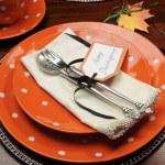 güzel sonbahar Tema Şükran günü yemeği Tablo ayarı — Stok fotoğraf
