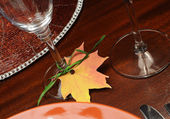 Beautiful Fall Theme Thanksgiving dinner table setting — Foto Stock