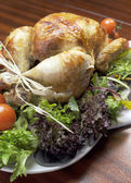 Christmas or Thanksgiving roast chicken turkey dinner meal — Stock Photo