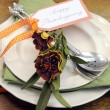 Постер, плакат: Happy Thanksgiving individual dinner table place setting