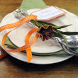 Happy Thanksgiving individual dinner table place setting — ストック写真