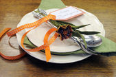 Happy Thanksgiving individual dinner table place setting — Stock Photo