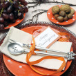 Happy Thanksgiving brunch, lunch or dinner table setting — Stock Photo