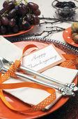 šťastné díkůvzdání brunch, oběd nebo večeře nastavení — Stock fotografie