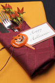 Happy Halloween orange and red table place setting — Stock Photo