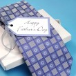 Happy Father's Day gift of a check pattern blue tie — Stock Photo