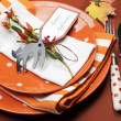 Bright and modern Happy Halloween lunch or dinner table place setting. — Stock Photo #29585601