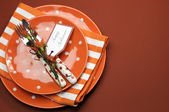 Bright and modern Happy Halloween lunch or dinner table place setting. — Stock Photo