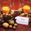 Happy Thanksgiving table setting centerpiece. — Stock Photo #30284745