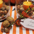 Happy Halloween table setting centerpiece — Stock Photo