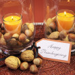 Happy Thanksgiving table setting centerpiece. — Stock Photo