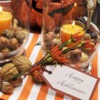 Happy Halloween table setting centerpiece — Stock Photo #30284787