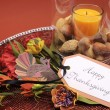 Happy Thanksgiving table setting centerpiece. — Stock Photo #30285017