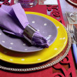 Party table place setting — Stock Photo