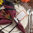 Thanksgiving dinner table place setting — Stock Photo