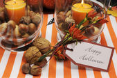 Happy Halloween table setting centerpiece — Foto Stock