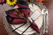 Thanksgiving dinner table place setting — Foto Stock