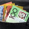 Australian money cash in back pocket of man's jeans — Stock Photo #30570447