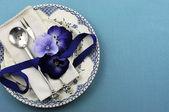 Antieke vintage stijl eettafel Couvert — Stockfoto