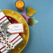Thanksgiving individuele eettafel Couvert — Stok fotoğraf