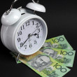 Stock Photo: White alarm clock with hundred dollar notes