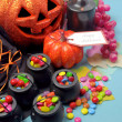 Halloween trick or treat party table — Stock Photo