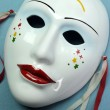 Ceramic mask for actor, theatre concept — Stock Photo