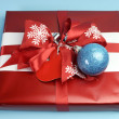Aqua blue and red latest trend for Christmas color decor gifts. — Stock Photo #32569711