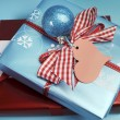 Aqua blue and red latest trend for Christmas color decor gifts. — Stock Photo #32569731