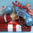 Aqua blue and red latest trend for Christmas color decor gifts. — Stock Photo #32569767