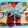 Aqua blue and red latest trend for Christmas color decor gifts. — Stock Photo
