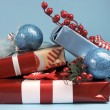 Aqua blue and red latest trend for Christmas color decor gifts. — Stock Photo #32569837