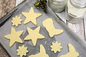 Baking homemade Christmas shortbread cookie biscuits - part of a series — Stock Photo